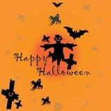 Vector de la tarjeta del cartel del feliz Halloween Foto de archivo