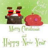 Vector de la tarjeta de felicitación del verde de Santa Claus del Año Nuevo ilustración del vector
