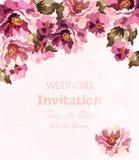 Vector de la tarjeta de las rosas de la acuarela del vintage Decoraciones florales delicadas de la invitación de la belleza ilustración del vector