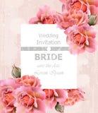 Vector de la tarjeta de las rosas de la invitación de la boda Decoraciones delicadas del marco floral ilustración del vector
