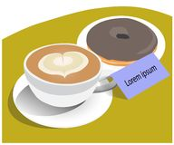 Vector de la taza de buñuelo del café y del chocolate stock de ilustración
