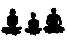 Vector de la yoga de la familia stock de ilustración