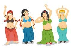 Vector de las bailarinas de la danza del vientre stock de ilustración