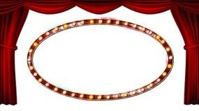 Vector de las bombillas del marco del oro Aislado en el fondo blanco Cortina roja del teatro Materia textil de seda Luz retra bri Imágenes de archivo libres de regalías