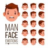 Vector de las emociones del hombre Diversas expresiones masculinas de Avatar de la cara fijadas Sistema emocional para la animaci stock de ilustración