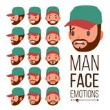 Vector de las emociones del hombre Variedad masculina de la cara de emociones Diversas expresiones faciales Ejemplo plano de la h stock de ilustración