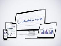 Vector de las estadísticas del ordenador de las TIC con el ordenador portátil, la tableta y el smartphone Imágenes de archivo libres de regalías