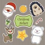 Vector de las etiquetas engomadas de la Navidad Imágenes de archivo libres de regalías