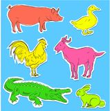 Vector de las etiquetas engomadas de los animales salvajes y del campo Imagenes de archivo