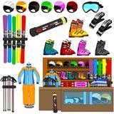 Vector de las herramientas de la tienda y del equipo del esquí Imagenes de archivo
