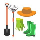 Vector de las herramientas de las bases de la pala que cultiva un huerto y del rastrillo stock de ilustración