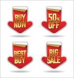 Vector de las insignias de la calidad y de la satisfacción garantizada Etiquetas engomadas rojas de la venta de la flecha Fotografía de archivo libre de regalías
