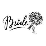 vector de las Mano-letras de la novia de la palabra Casarse el elemento del diseño Imagen de archivo