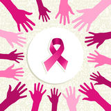 Vector de las manos de las mujeres de la cinta de la conciencia del cáncer de pecho  Fotografía de archivo libre de regalías