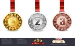 Vector de las medallas de oro, de plata y de bronce libre illustration