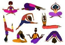 Vector de las muchachas de la yoga stock de ilustración