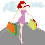 Vector de las mujeres de las compras stock de ilustración
