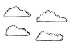 Vector de las nubes Dibujo de la mano aislado Imagen de archivo libre de regalías