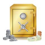 Vector de las pilas de la caja fuerte y del dinero monedas del metal Ejemplo aislado vector stock de ilustración