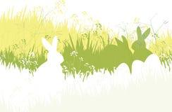 Vector de lenteachtergrond, konijnen en eieren in gras Royalty-vrije Stock Afbeeldingen