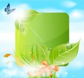 Vector de lentebanner met bladeren, gras Stock Afbeelding