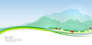 Vector de Lentebanner met Mont Blanc-silhouet vector illustratie