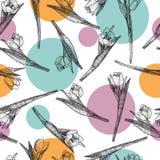 Vector de Lentebloemen Bloemen naadloos patroon Uitstekende achtergrond met Hand Getrokken Tulpen Inkt Pen Drawing Stock Fotografie