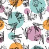 Vector de Lentebloemen Bloemen naadloos patroon Uitstekende achtergrond met Hand Getrokken Tulpen Inkt Pen Drawing Royalty-vrije Stock Fotografie