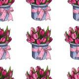 Vector de Lentebloemen Bloemen naadloos patroon Uitstekende achtergrond met Hand Getrokken Tulpen Inkt Pen Drawing Stock Afbeelding