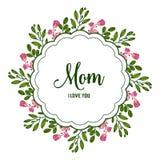 Vector de liefdemamma van de illustratiekaart met ronde roze bloemkaders royalty-vrije illustratie