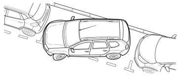 Vector de lijnillustratie van de parkerenauto Royalty-vrije Stock Afbeelding