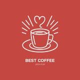 Vector de lijnpictogram van de koffiekop Het lineaire embleem van het Baristamateriaal Overzichtssymbool voor koffie, bar, winkel Stock Afbeelding
