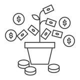 Vector de lijnpictogram van de geldgroei, teken, illustratie op achtergrond, editable slagen royalty-vrije illustratie