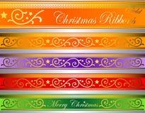 Vector de lintengoud van Kerstmisdeco Stock Afbeelding