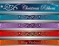 Vector de lintenplatina van Kerstmisdeco Stock Afbeelding