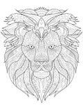 Vector de Lion Coloring para los adultos Fotos de archivo