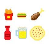 Vector de los alimentos de preparación rápida del pixel Imagenes de archivo