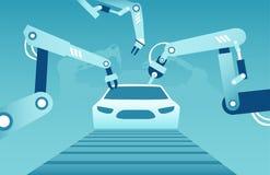 Vector de los brazos robóticos que montan un coche moderno stock de ilustración