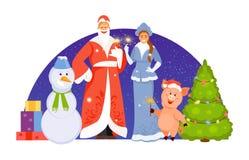 Vector de los caracteres de la Navidad libre illustration
