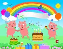 Vector de los cerdos del feliz cumpleaños libre illustration