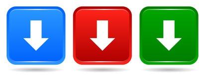 Vector de los colores azules del botón cuadrado de la transferencia directa el icono rojo y verdes stock de ilustración