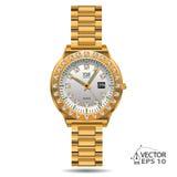 Vector de los diamantes del oro del reloj Imagen de archivo