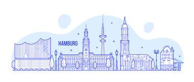 Vector de los edificios de la ciudad de Alemania del horizonte de Hamburgo Fotos de archivo libres de regalías