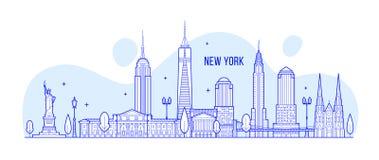 Vector de los edificios de la ciudad del vector de los E.E.U.U. del horizonte de Nueva York libre illustration