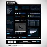 Vector de los elementos 6 del diseño de Web (tema oscuro) ilustración del vector