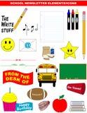 Vector de los elementos/de los iconos del boletín de noticias de la escuela Fotos de archivo libres de regalías