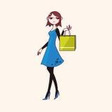 Vector de los elementos del tema de la muchacha de compras, EPS Foto de archivo