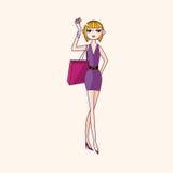 Vector de los elementos del tema de la muchacha de compras, EPS Foto de archivo libre de regalías