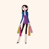 Vector de los elementos del tema de la muchacha de compras, EPS Imagen de archivo