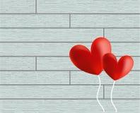Vector de los globos del corazón del día de tarjeta del día de San Valentín en fondo de madera foto de archivo libre de regalías